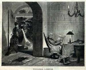 Villamos lámpák. Fametszet a Vasárnapi Ujsag 1879. 7. számából
