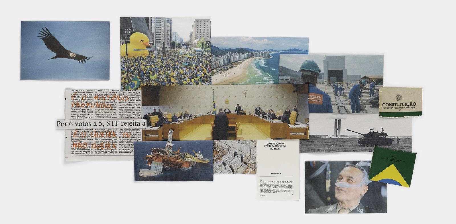 """Gustavo Balbela: Curitiba, PR, Brasil, 2021 (A címek fordítása balról jobbra haladva a következőket mondja: """"6 szavazattal 5 ellenében, a Legfelsőbb Bíróság elutasítja az Alkotmányt"""")   (The translation of the headlines from left to right says © Gustavo Balbela"""