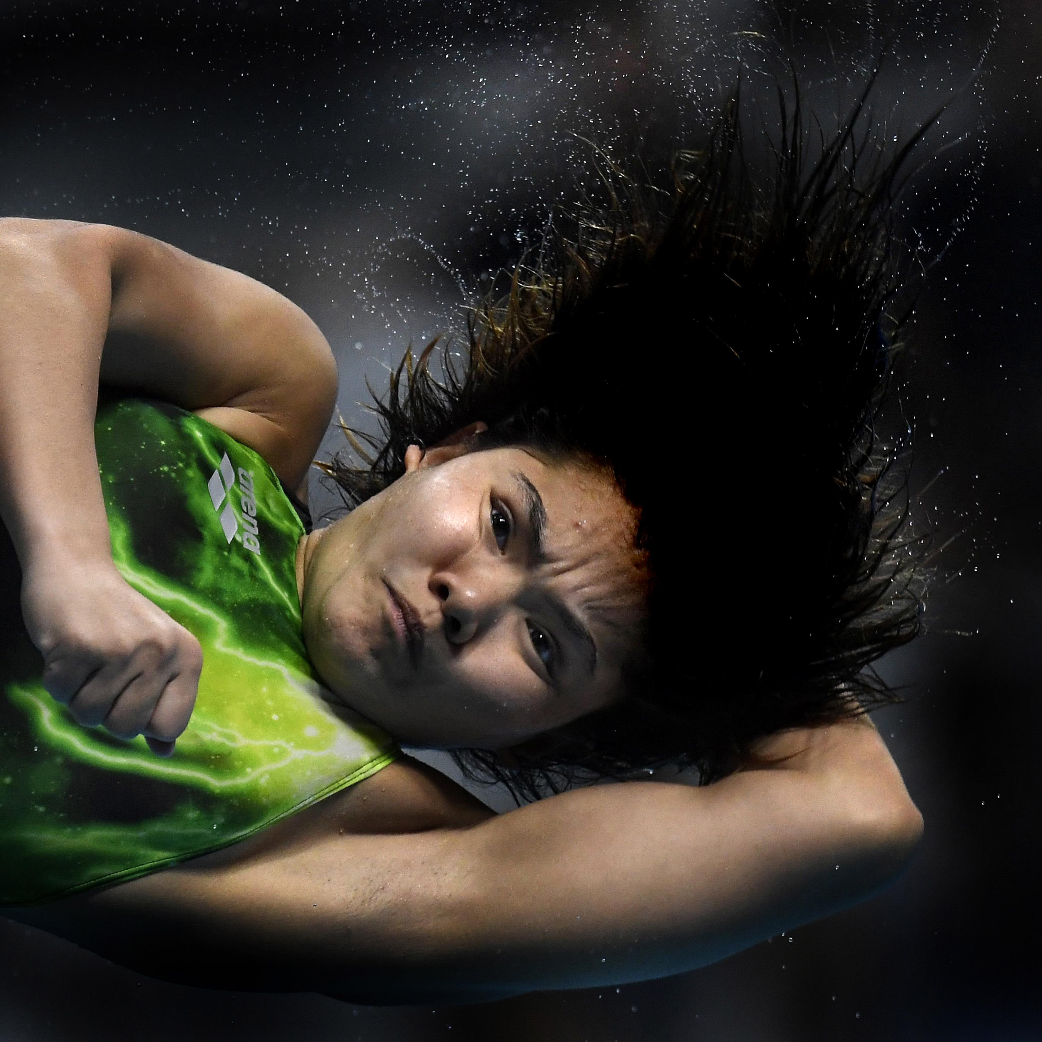Illyés Tibor: A malajziai Binti Nur Dhabitah Sabri a 3 méteres női műugrás döntőjének végén a 17. vizes világbajnokságon a fővárosi Duna Arénában 2017. július 21-én
